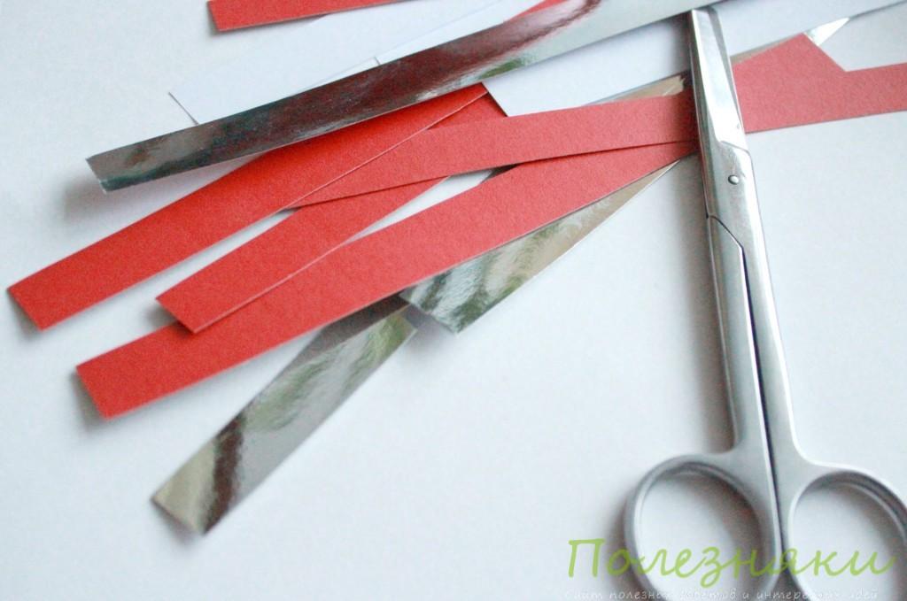 Бумагу нарезаем тонкими полосками