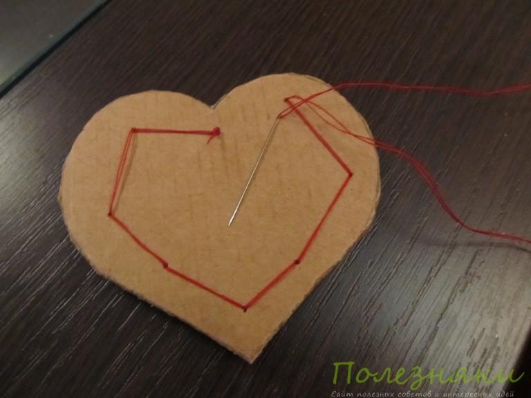Пришиваем вязаное сердце