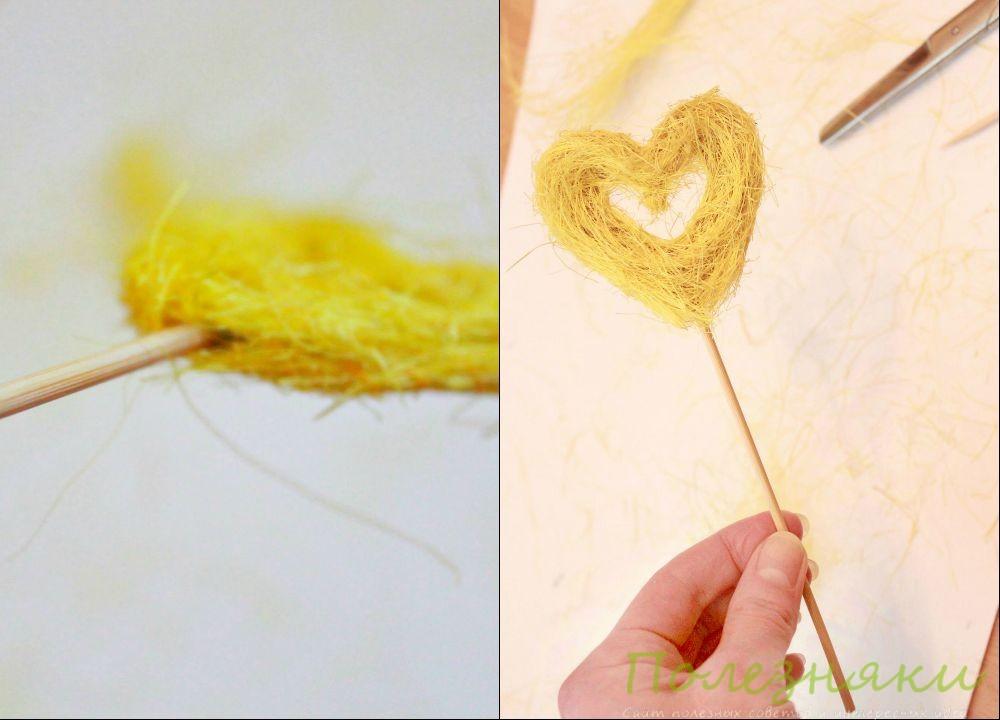 Обрезаем шпажку до нужного размера и вставляем её в основание сердца
