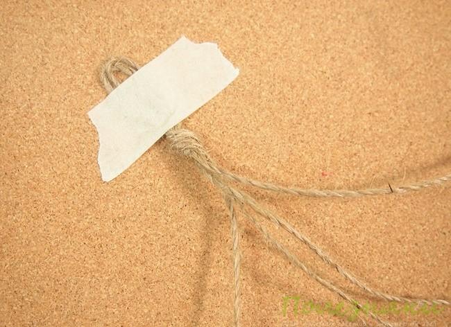 Фиксируем кончик веревки с узлом