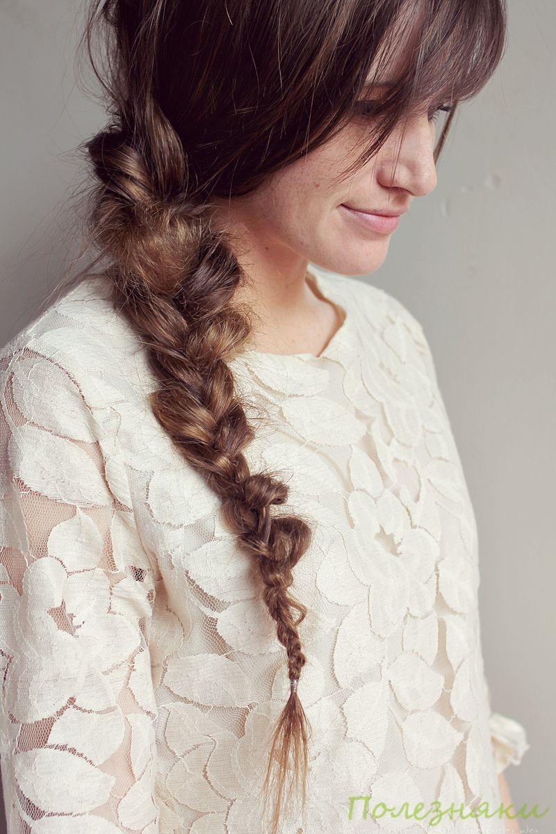 Как можно заплести волосы средней длины самой себе - 683c