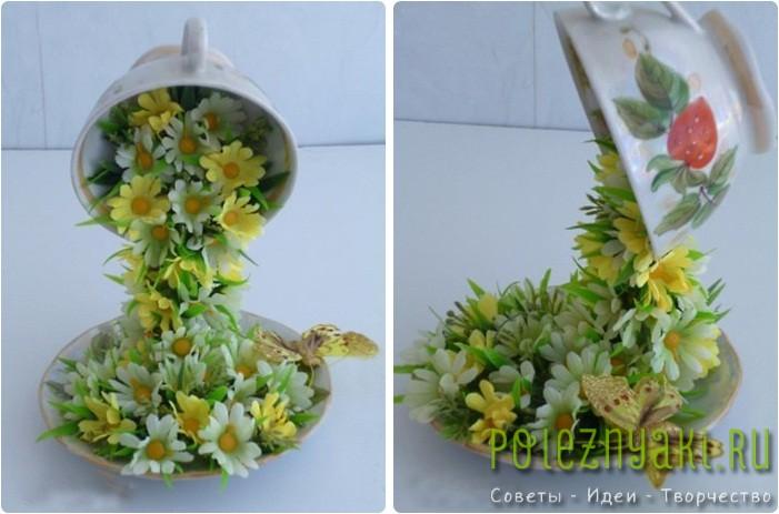 Летающая чашка с искусственными цветами