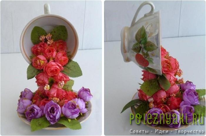 Топиарий парящая кофейная чашка с искусствеными цветами