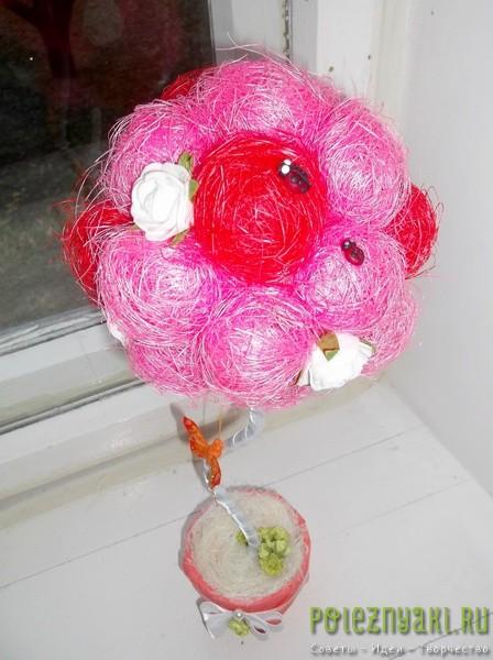 Как своими руками сделать цветы для топиария