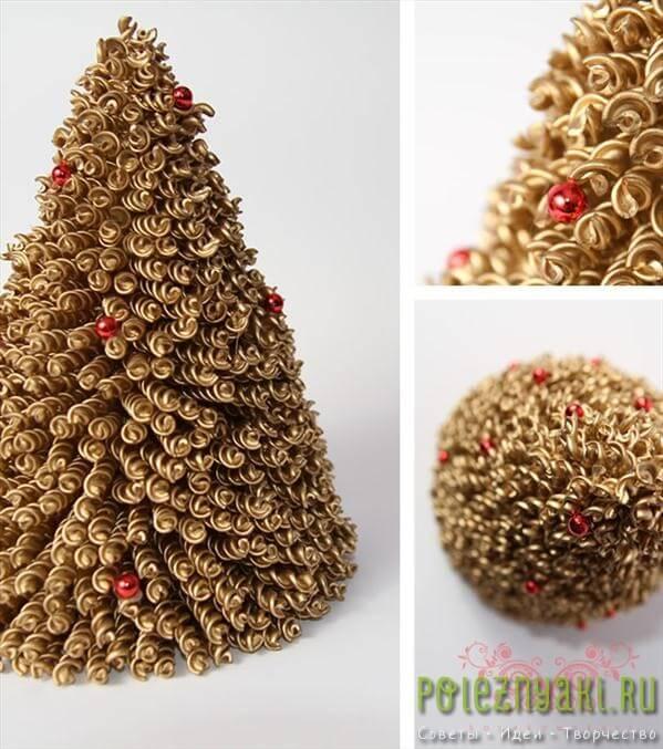 Как сделать настольную елку из макарон 5