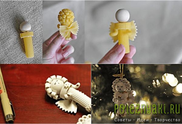 Как сделать новогоднюю игрушку из макарон