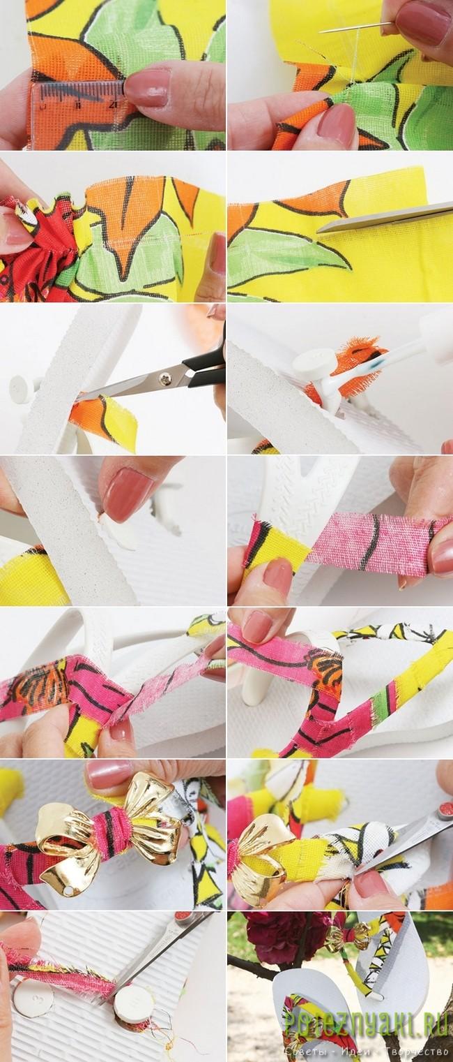 Декорирование резиновых шлепанцев обрезками ткани 2