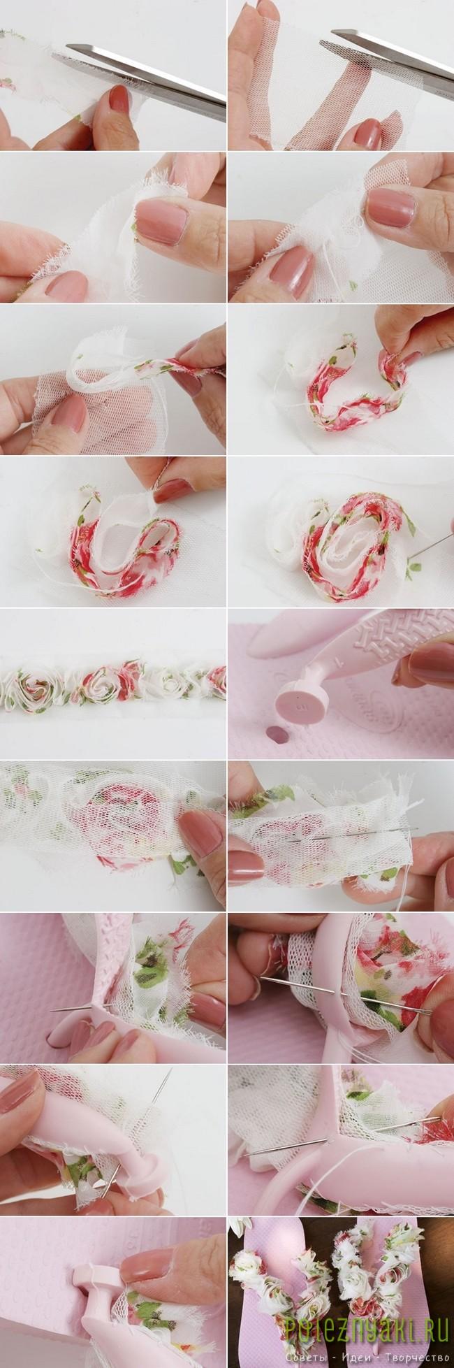 Идея по украшению летних шлепок остатками ткани 2