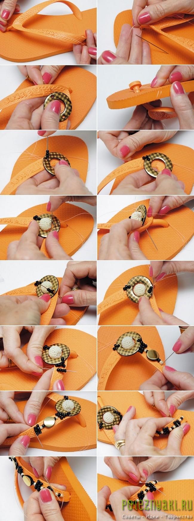 Идея украшения оранжевых шлепок черным бисером2