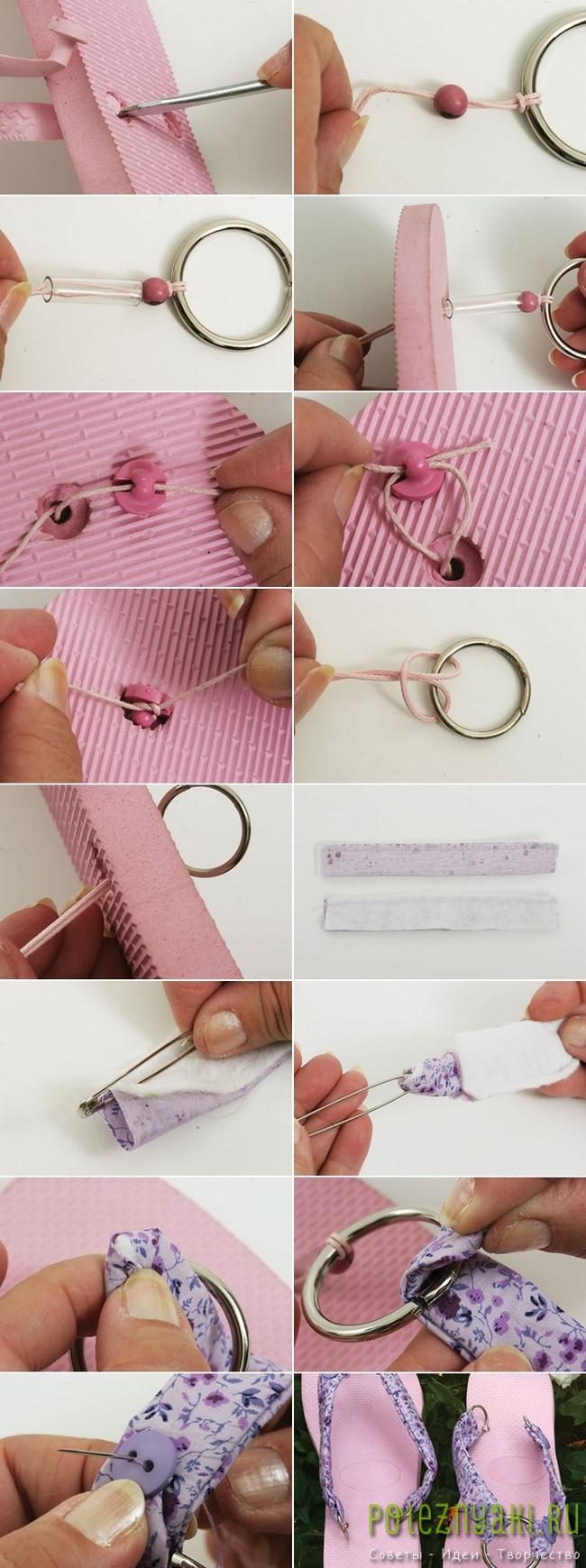 Идея украшения розовых шлепок пурпурной тканью и металлическими кольцами 2