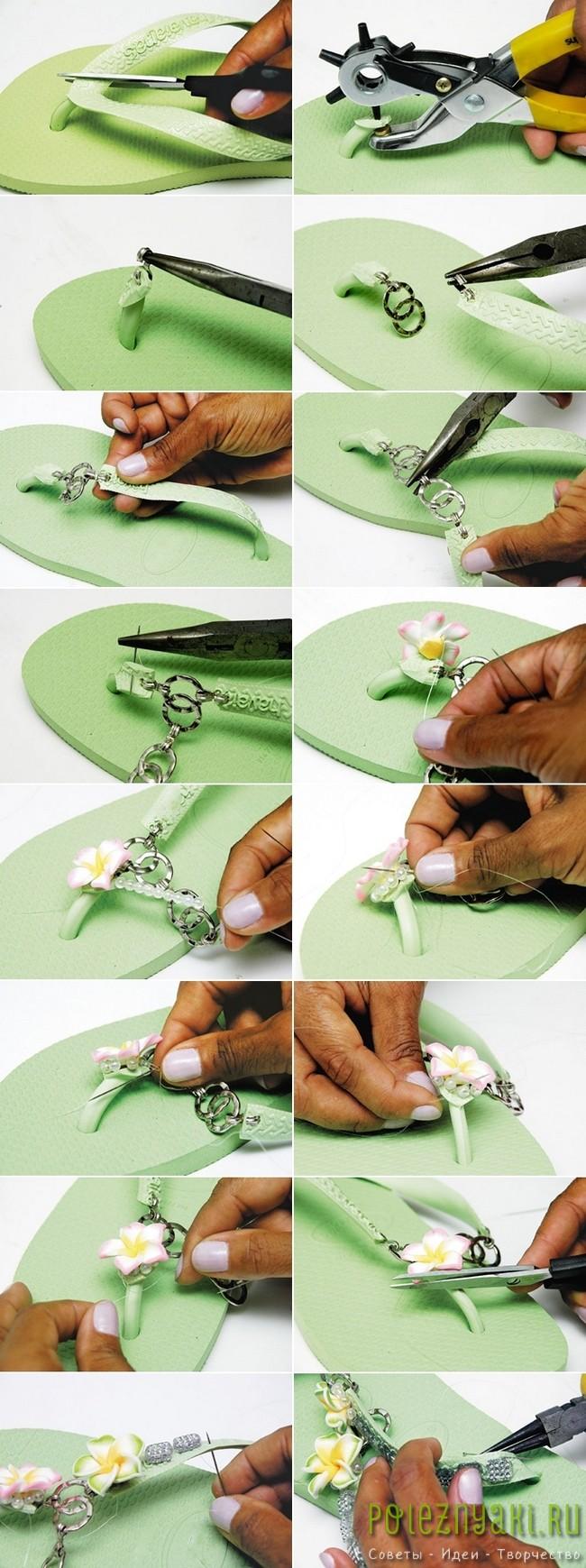 Идея украшения зеленых резиновых шлепанцев цветами 2