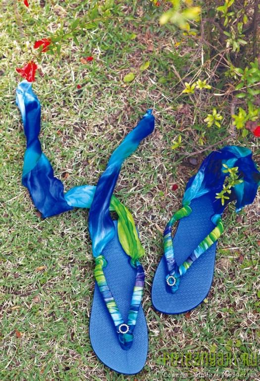 Хэнд-мэйд как обернуть шлепки синей лентой романского стиля 3