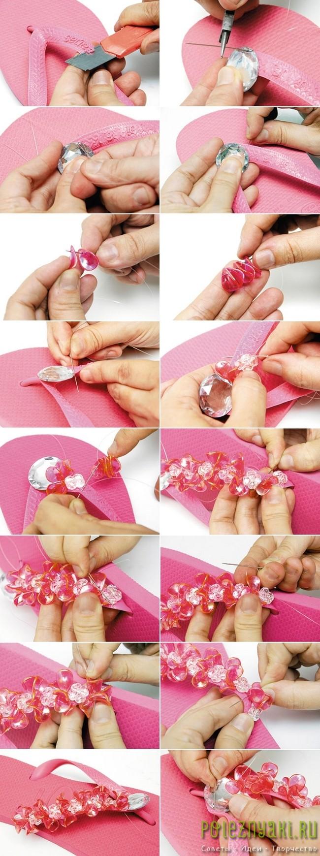 Хэнд-мэйд по украшению бисером розовых шлепок 2