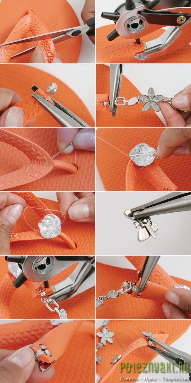 Мастер-класс по украшению оранжевых шлепок бабочками 2