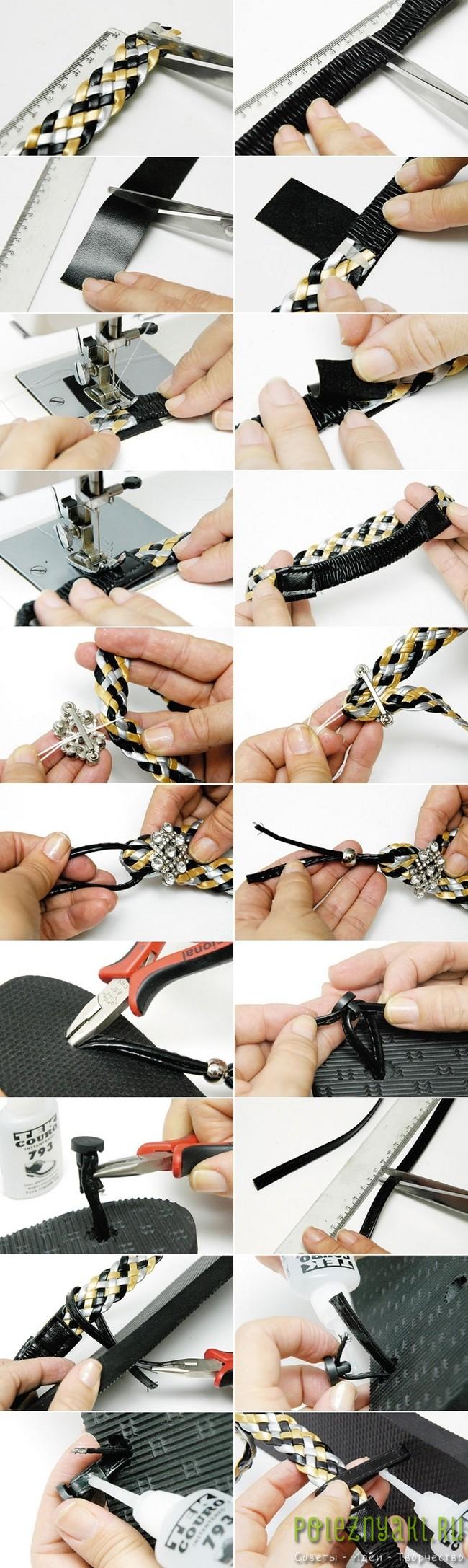 Превращаем домашние черно-желтые шлепанцы в модный летний аксессуар 2