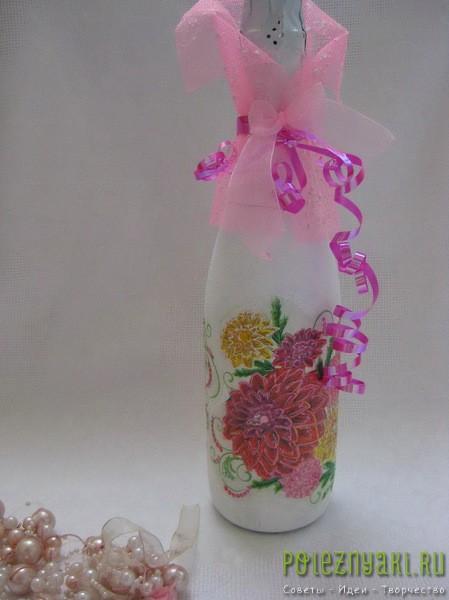 Украшаем бутылки ленточками
