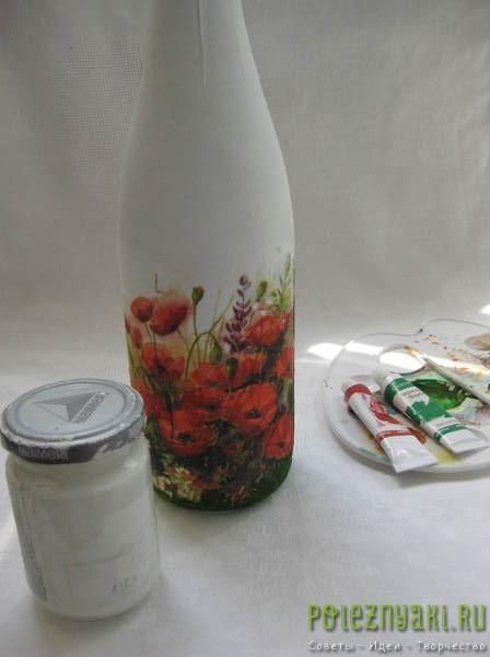 подрисоваем рисунок на бутылке