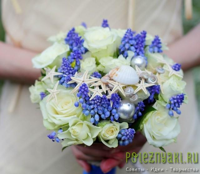 Свадебные букеты в пляжном стиле с цветами и ракушками