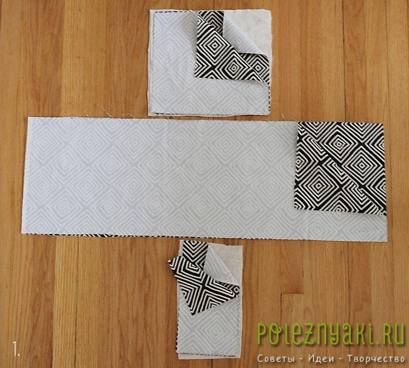 Вырезаем из ткани два прямоугольника