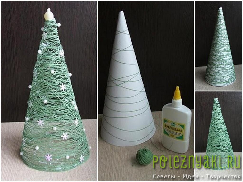 Новогодняя елка из бумаги и ниток