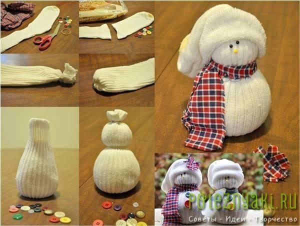 Как сделать новогоднюю игрушку своими руками в домашних условиях снеговик