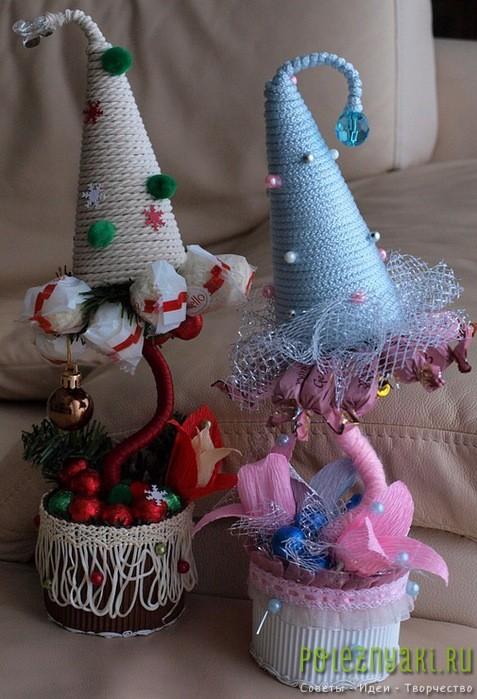 различные варианты исполнения новогоднего топиария