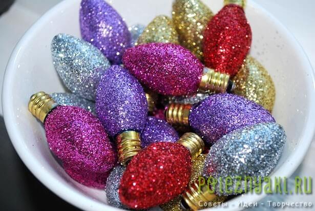 Лампочки как новогодние украшения сделанные своими руками 4