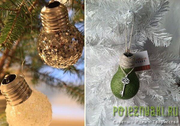 Новогодние украшения из лампочки сделанные своими руками 5