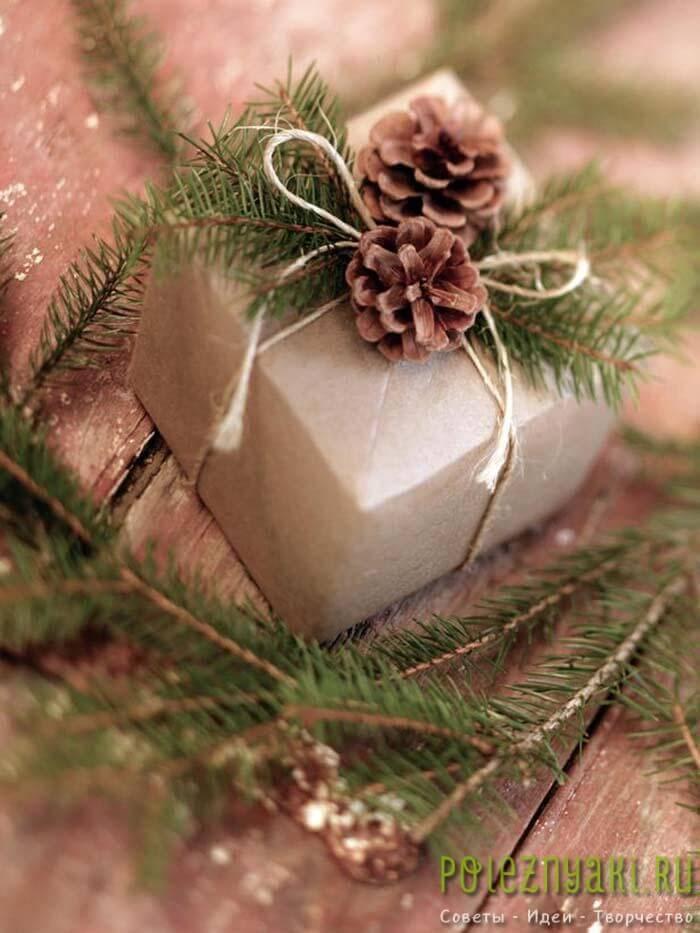 Подарочная упаковка с шишками