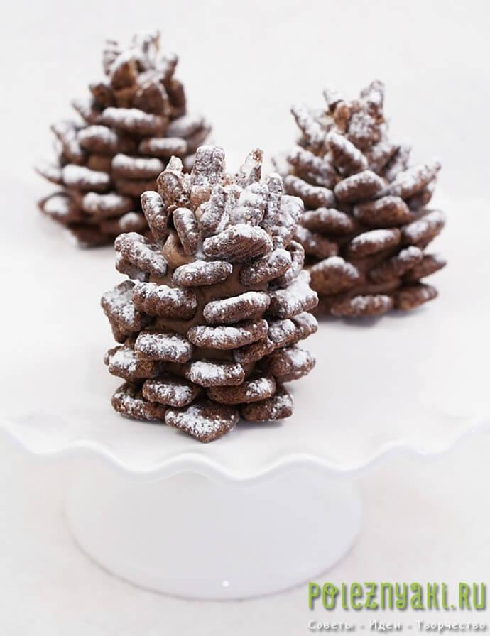 Съедобные шоколадные шишки как украшение стола2