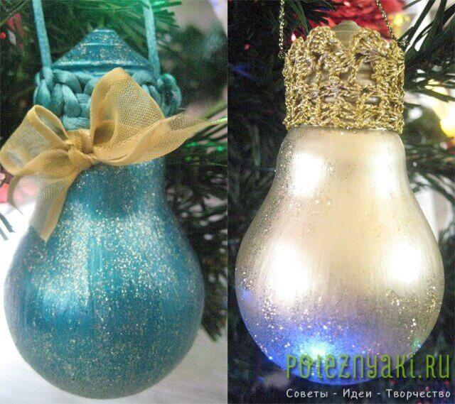 сделай сам рождественские идеи созданию украшений из лампочек 2