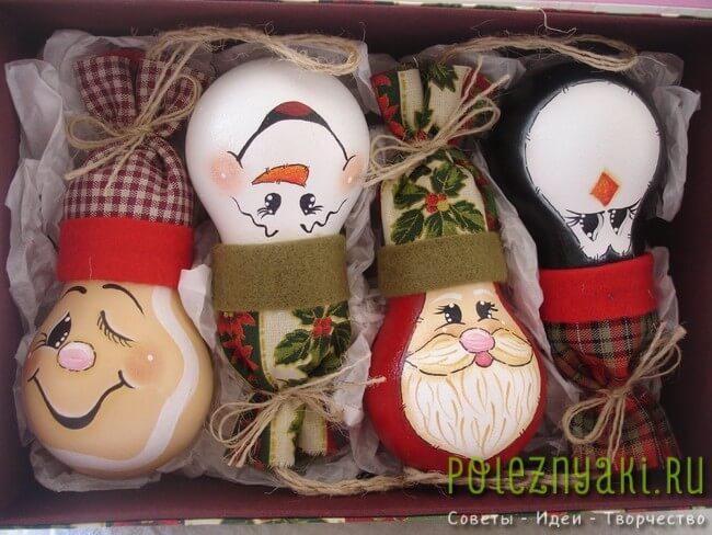 сделай сам рождественские идеи созданию украшений из лампочек 4