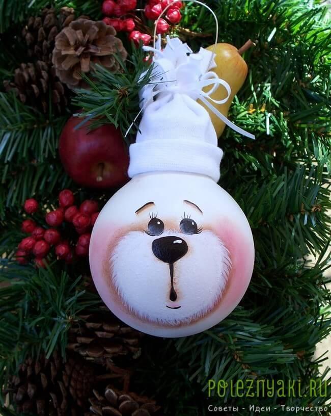 сделай сам рождественские идеи созданию украшений из лампочек 5