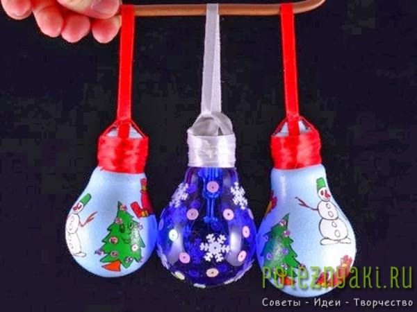 сделай сам рождественские идеи созданию украшений из лампочек 9