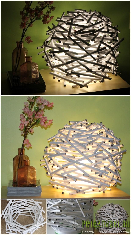2. Крутая лампа из газетных трубок