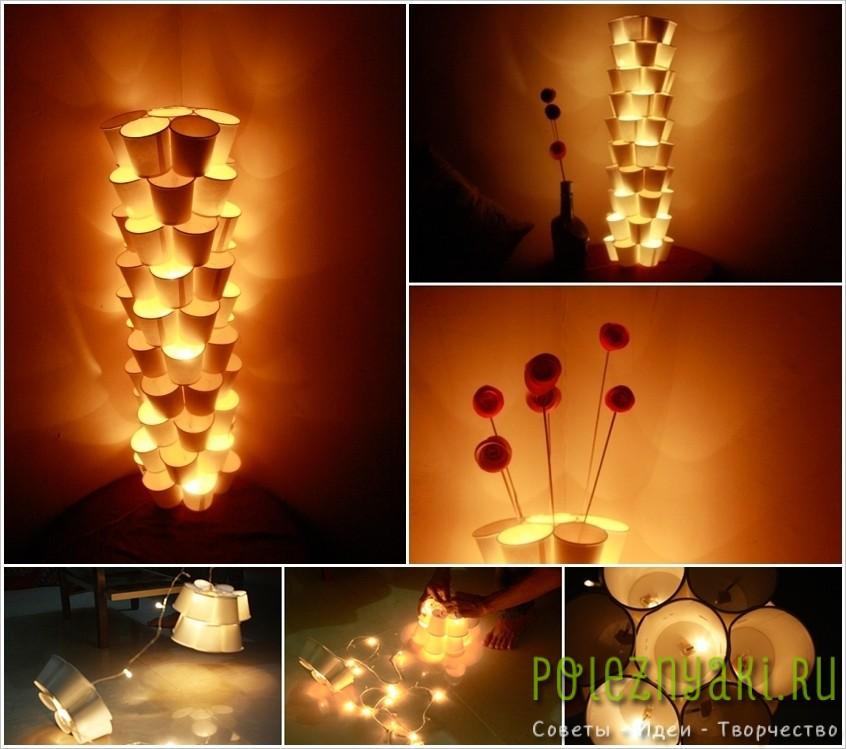 7. Лампа из бумажных стаканчиков и светодиодной гирлянды