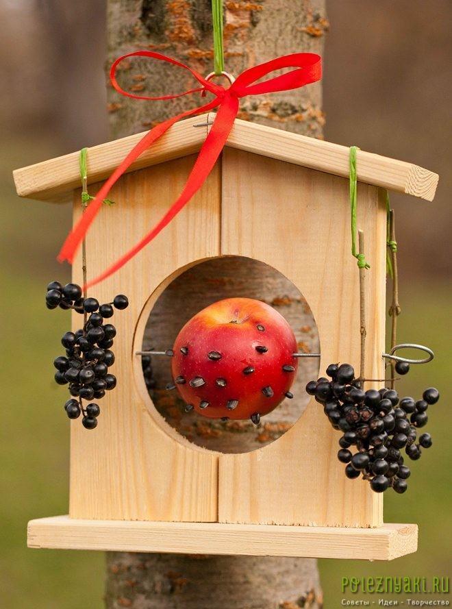 Самодельные кормушки для птиц с фруктами и семенами
