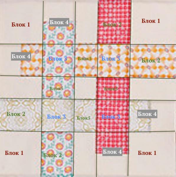 """Квилт Эллы - разгадка с чертежом принципа блока """"плетенка"""""""